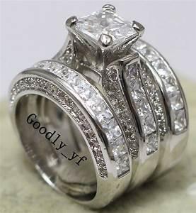 Princess Cut 7mm Topaz 14K White Gold Filled Women Wedding ...