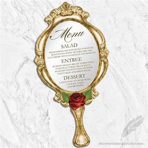 beauty and the beast wedding menus die cut hand mirror With beauty and the beast mirror wedding invitations