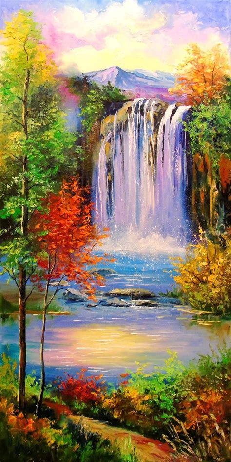 Mountain Waterfal Paintings Olha Darchuk Artist