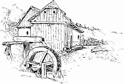 Mill Water Drawing Domain Coloring Reusableart Pages
