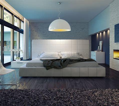 md thompson white leather bed  modloft
