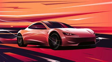 tesla horizon 2020 wallpaper tesla roadster artwork 4k 8k automotive