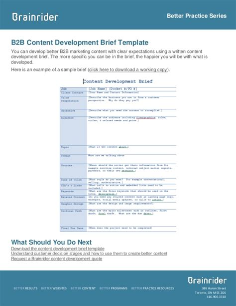 marketing research brief template brief template and sle b2b content development