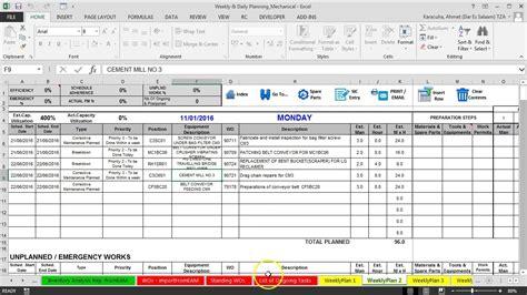 Maintenance Plan by 3 Prepare Weekly Maintenance Plan