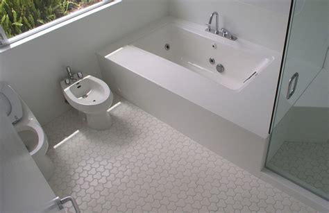 White Mosaic Floor Tile Bathroom