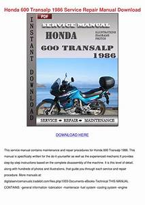 Honda 600 Transalp 1986 Service Repair Manual By Mariomcgrath