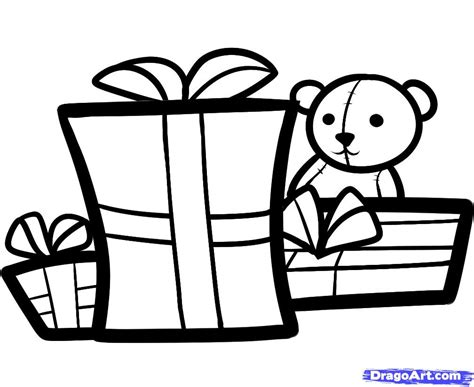 how to draw christmas gifts christmas gifts step by step