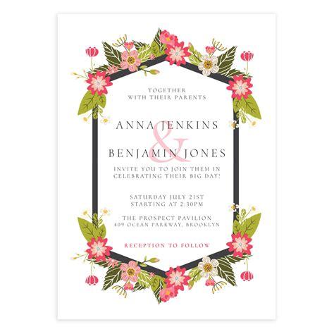 floral wedding invitation template mockaroon