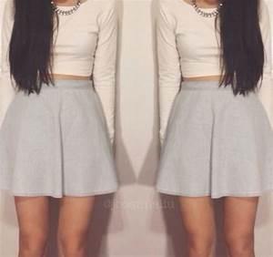Skirt: skater skirt, crop tops, summer outfits, tumblr ...