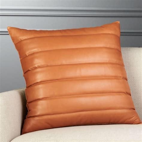 "23"" Izzy Saddle Brown Leather Pillow   CB2"