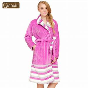 qianxiu thicken bathrobe winter coral fleece bathrobe With robe de chambre longue