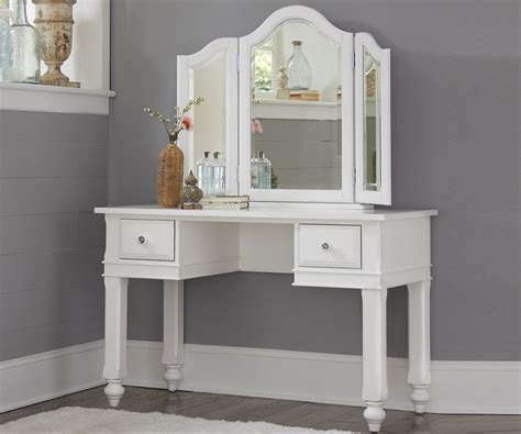 White Wooden Vanity With Double Drawers And Curving Triple