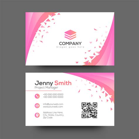 girly business cards templates free pink abstract business card vector vector card free