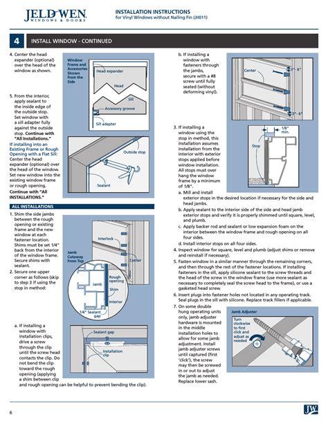 installation instructions install window continued jeld wen jii vinyl windows