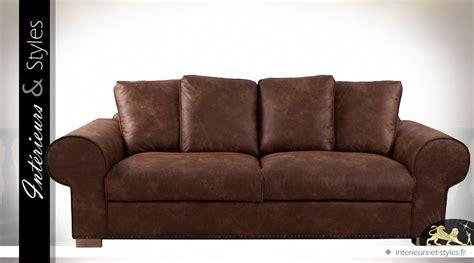 canapé cuir ancien canapé 3 places marron en microfibre imitation cuir ancien
