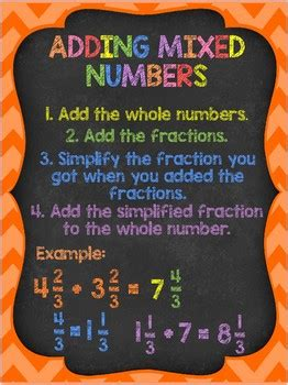 adding mixed numbers anchor chart     awesomeness