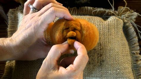 needle felted pumpkin tutorial   face  sarafina