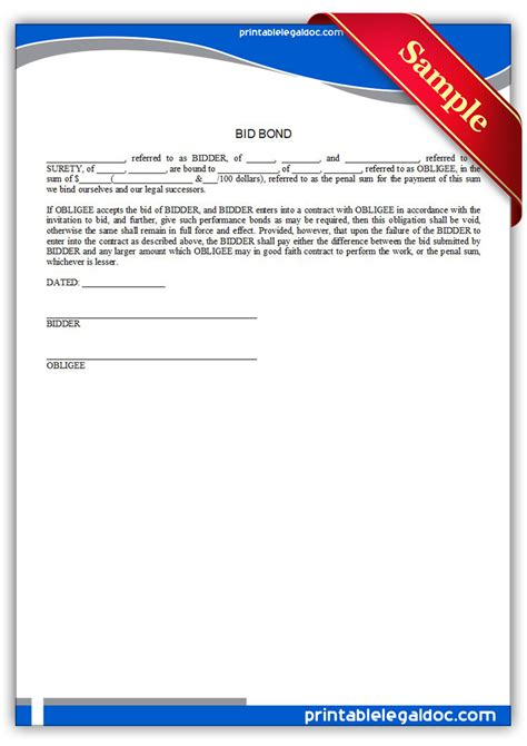 bid bond free printable bid bond form generic