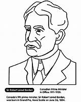 Minister Prime Borden Canadian Coloring Crayola Pages sketch template