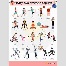 Sport And Exercise Actions Vocabulary In English  Action Sports Photography English
