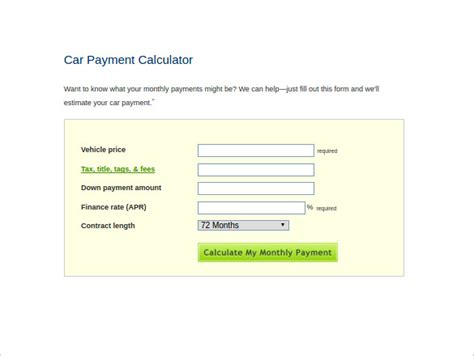 9+ Sample Car Loan Calculators