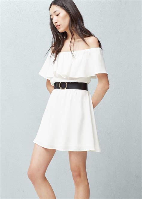 frilled belt dress woman dresses belted dress white