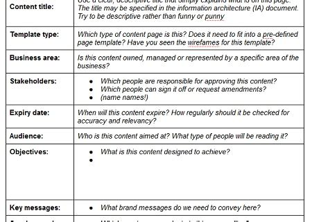 website content template content strategy applied creating better web content with page tables freelance copywriter