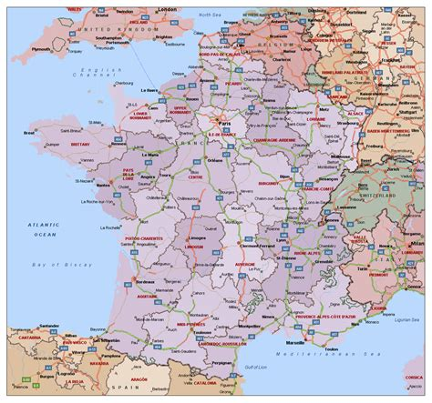 political  administrative map  france  highways