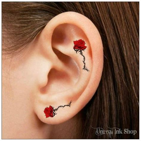 temporary tattoo  rose flower ear tattoos finger tattoos
