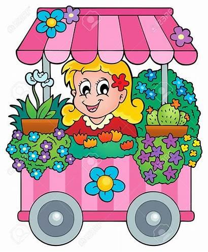 Clipart Flower Market Stall Farmers Shopping Clip
