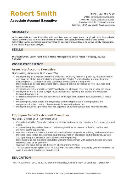 Account Executive Resume by Associate Account Executive Resume Sles Qwikresume