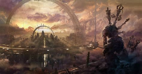 wallpaper heaven city arch building space station monster clouds sky sunset fantasy