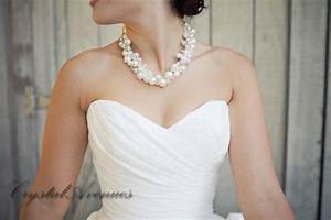 pearl bridal necklace chunky wedding necklace swarovski With pearl necklace with wedding dress