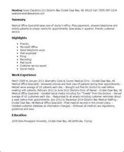 Office Specialist Resume Sles by Professional Office Specialist Templates To