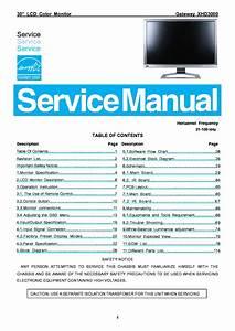 Gateway Xhd3000 Lcd Monitor Service Manual Service Manual