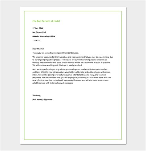 restaurant apology letter  customers  samples formats