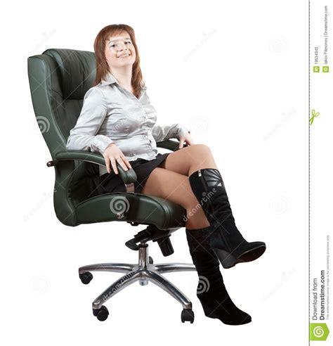 Happy Woman Sitting Luxury Office Armchair Stock Photo