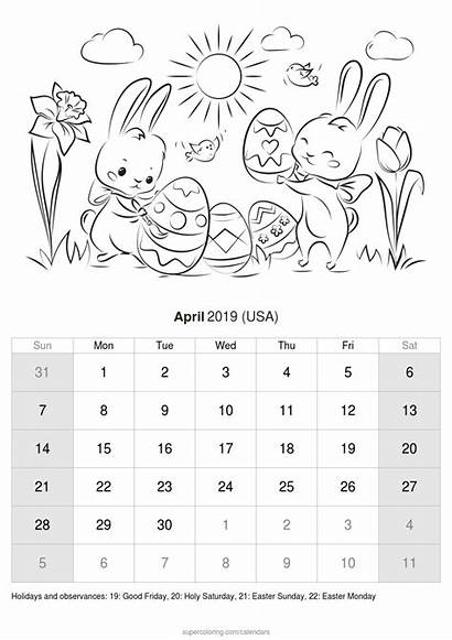 Calendar April Coloring Pages Holidays Usa Month
