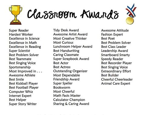 classroom awards     challenging students