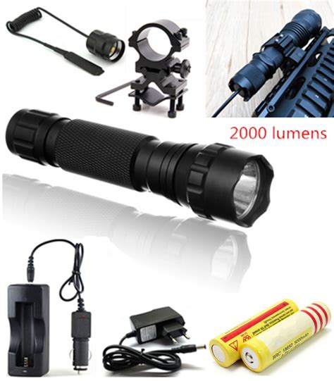 tactical flashlight 2000 lumens cree xm l t6 led 501b