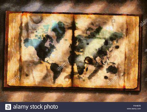 toile carte du monde peinture 224 l huile sur toile carte du monde en livre ancien banque d images photo stock