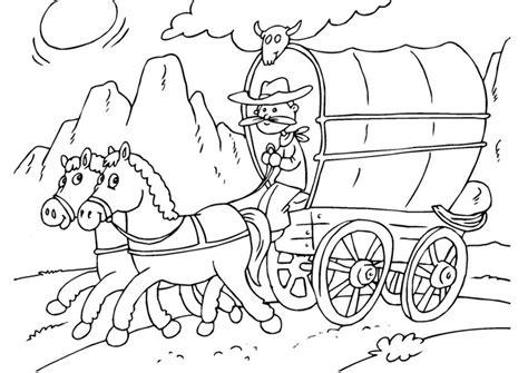 Kleurplaat van 2 paarden onder een boom. Kleurplaat paard en huifkar - Afb 25968.