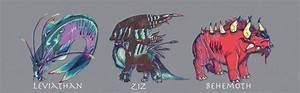 Leviathan, Ziz, and Behemoth by HappyChupacabra on DeviantArt
