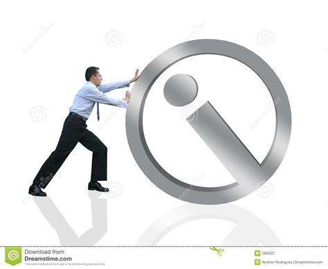 Business Man Pushing Info Stock Illustration. Illustration