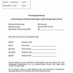 Einverständniserklärung Datenweitergabe Arzt : einwilligungserkl rung recall erinnerung kostenlose ~ Themetempest.com Abrechnung