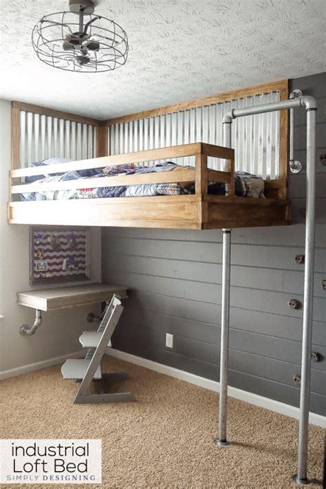 wooden loft bed industrial loft bed with rock wall and fireman 39 s pole