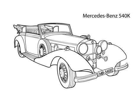 Super Car Mercedes Benz 540k Coloring Page, Cool Car