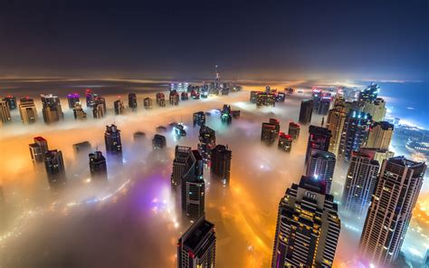 dubai night time city   fog hd wallpaper wallpaperscom