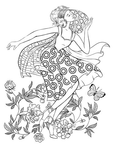Coloriage Dancing Woman from the 70's Catégories: Mode