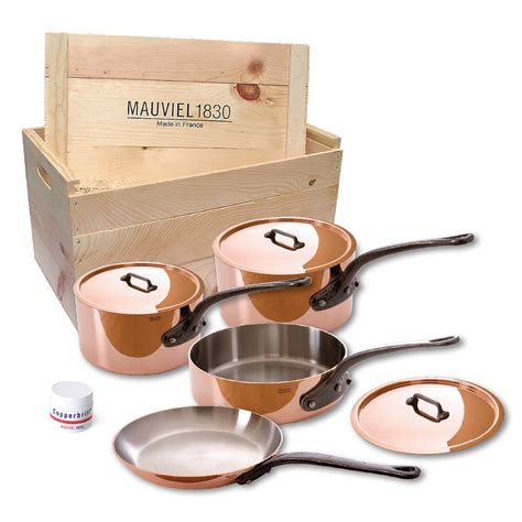 mauviel mheritage mc  piece copper cookware set  wooden crate ebay